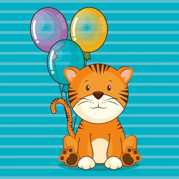 Carte de joyeux anniversaire avec tigre mignon Vecteur gratuit