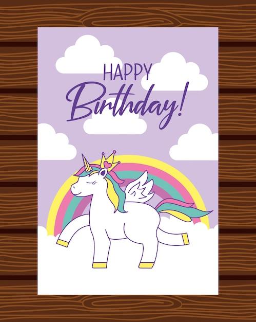 Carte de joyeux anniversaire Vecteur Premium