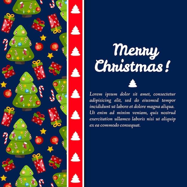 Carte De Joyeux Noël Bleu Foncé Avec Des Sapins Sur La Gauche Vecteur gratuit