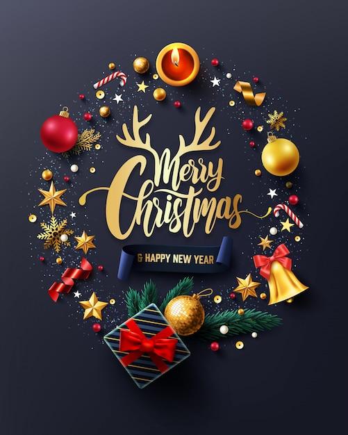 Carte De Joyeux Noël Et Bonne Année Vecteur Premium