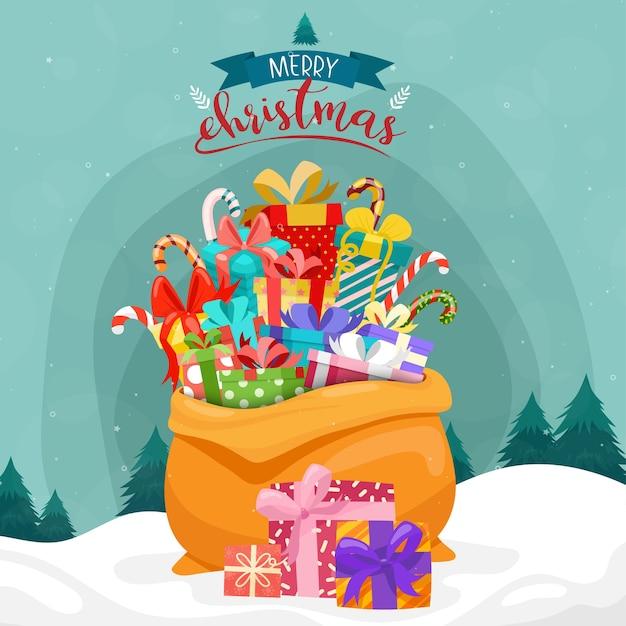 Carte De Joyeux Noël Avec Des Cadeaux Dans Un Grand Sac Sur La Neige Et Le Pin Vecteur gratuit