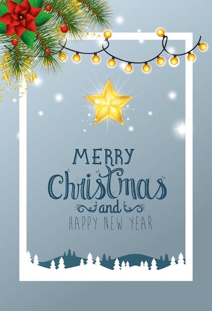 Carte joyeux noël avec décoration en scène d'hiver Vecteur Premium