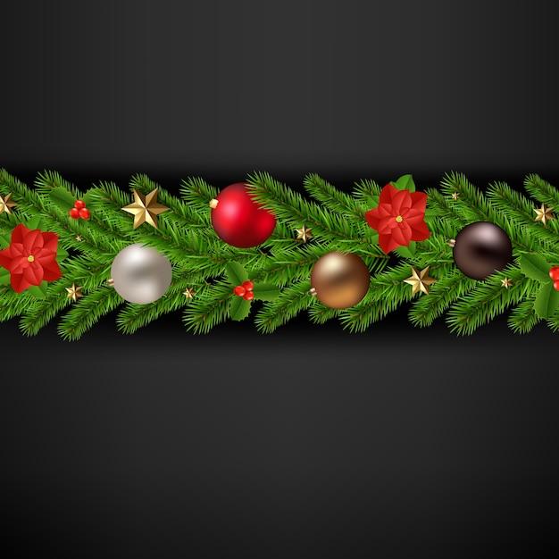 Carte De Joyeux Noël Avec Guirlande De Noël Vecteur Premium
