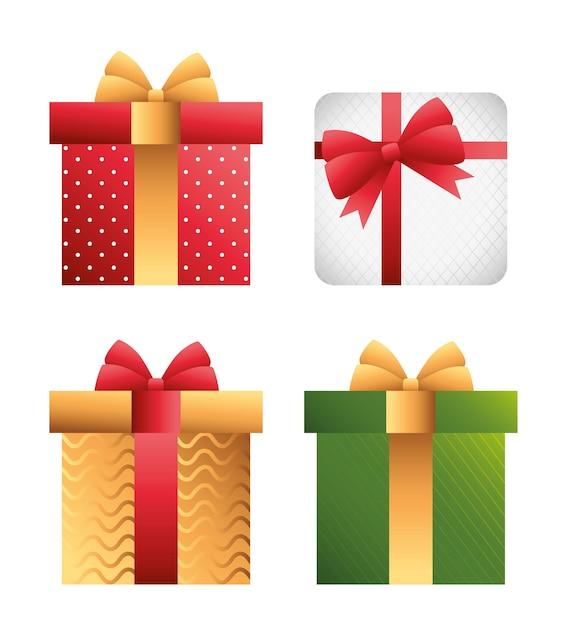 Carte De Joyeux Noël Joyeux Avec Conception D'illustration De Cadeaux Vecteur Premium