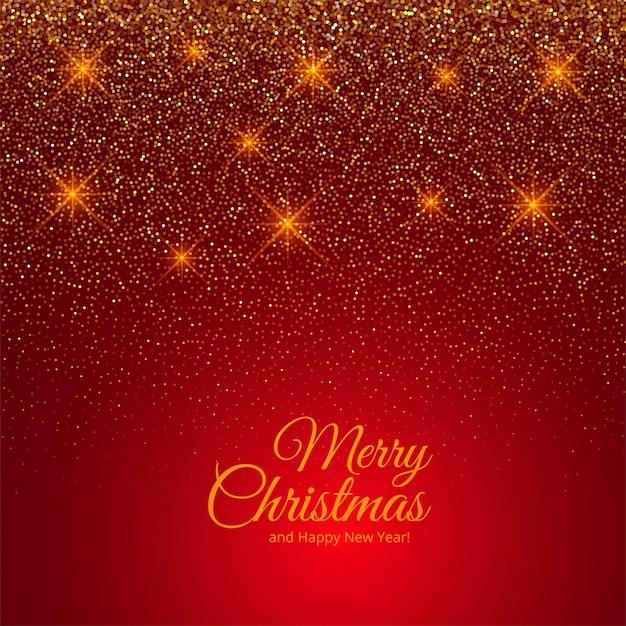 Carte De Joyeux Noël De Paillettes D'or Sur Rouge Vecteur gratuit