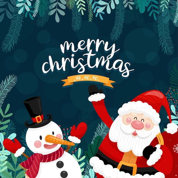 Carte De Joyeux Noël Avec Père Noël, Bonhomme De Neige Et Boîte-cadeau. Vecteur gratuit