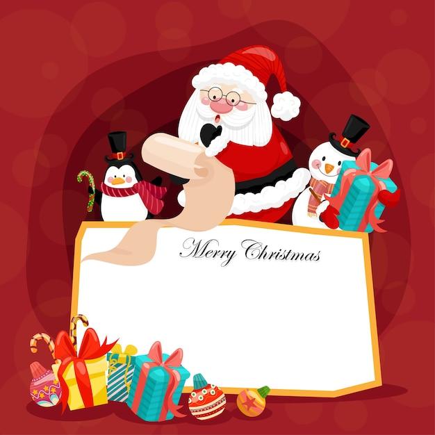 Carte De Joyeux Noël Avec Père Noël, Bonhomme De Neige, Pingouin Et Boîte-cadeau. Vecteur gratuit