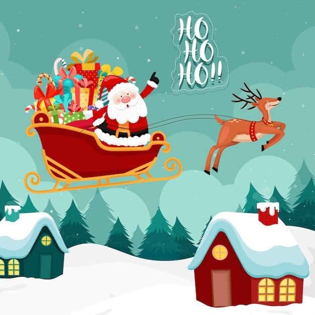Carte De Joyeux Noël Avec Le Père Noël Doit Monter Un Traîneau. Vecteur gratuit