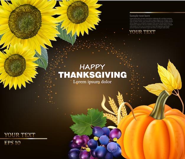 Carte de joyeux thanksgiving aux tournesols et citrouille Vecteur Premium