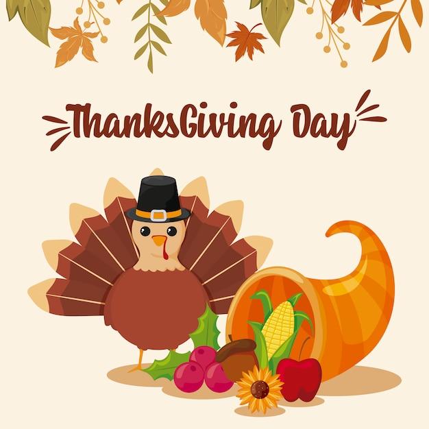 Carte De Joyeux Thanksgiving Et Dinde De Bande Dessinée Vecteur Premium