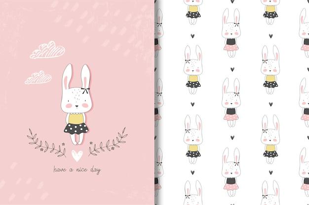 Carte de lapin petite fille et modèle sans couture Vecteur Premium