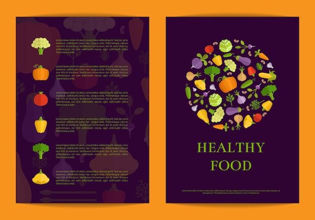 Carte de légumes plats de vecteur, brochure, modèle de flyer. illustration d'aliments sains Vecteur Premium