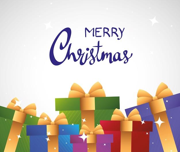 Carte De Lettrage Joyeux Joyeux Noël Avec Conception D'illustration De Cadeaux Couleurs Vecteur Premium