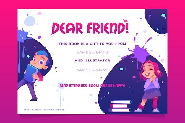 Carte Livre Cadeau Vecteur gratuit