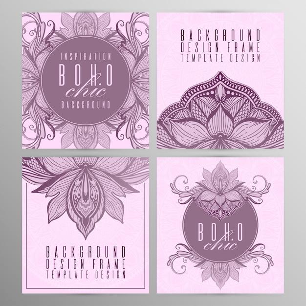 Carte de lotus mandala vintage vector définie couleur rose. Vecteur Premium