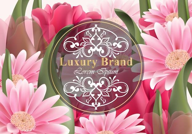 Carte de luxe avec des fleurs de marguerite. belle illustration pour le livre de marque, carte de visite ou une affiche. arrière-plan de fleurs en pleine croissance. place aux textes Vecteur Premium