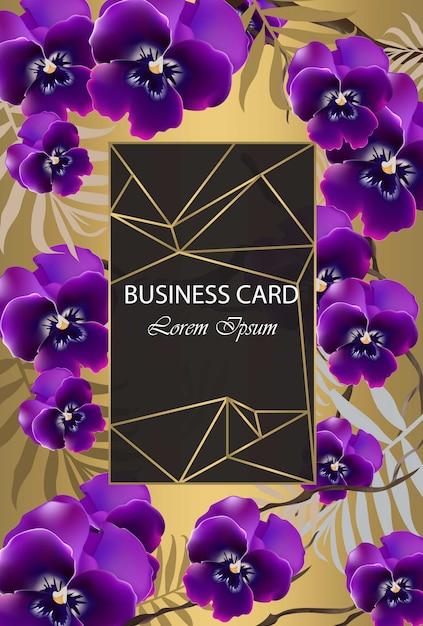 Carte de luxe avec des fleurs d'orchidées vector. belle illustration pour le livre de marque, carte de visite ou une affiche. fond d'or. place aux textes Vecteur Premium