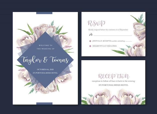 Carte de mariage aquarelle, carte de remerciement, mariage sur invitation Vecteur gratuit