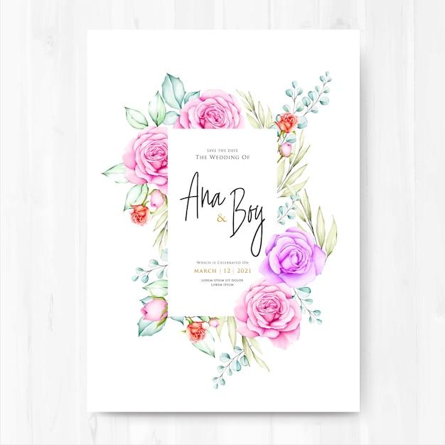Carte de mariage aquarelle floral et feuilles Vecteur Premium