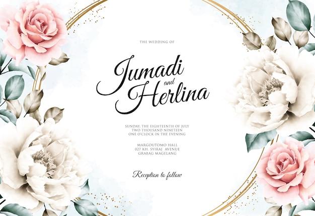 Carte De Mariage Avec Une Belle Aquarelle Florale Vecteur Premium