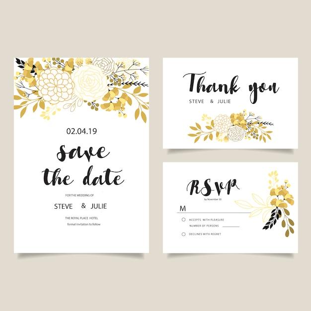 Carte de mariage blanche avec collection de fleurs dorées Vecteur gratuit