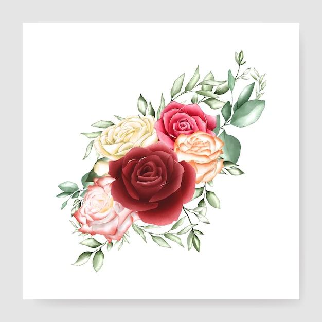 Carte de mariage bouquet aquarelle Vecteur Premium