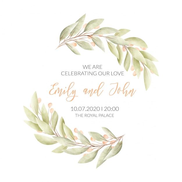 Carte De Mariage Avec Cadre Floral Vecteur gratuit