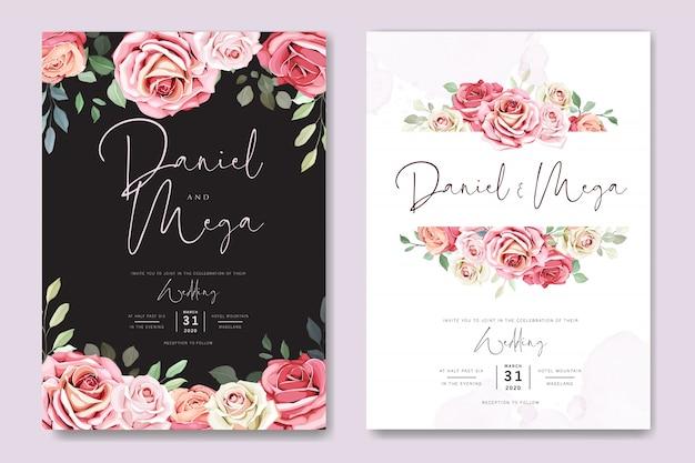 Carte de mariage et carte d'invitation avec modèle de belles roses Vecteur Premium