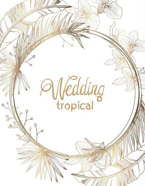 Carte de mariage dessin au trait de fleurs tropiques dorées. décorations florales d'été Vecteur Premium
