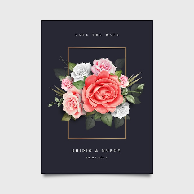 Carte de mariage élégant avec aquarelle florale Vecteur Premium