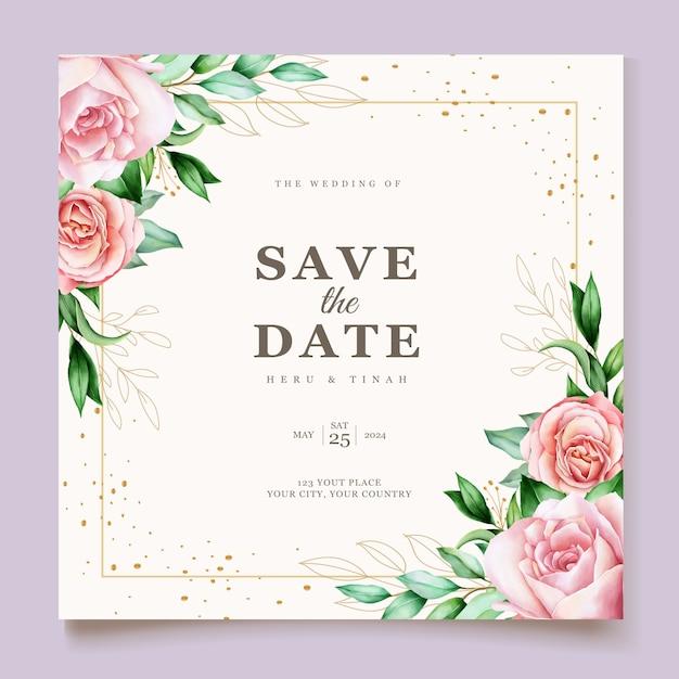 Carte De Mariage élégant Avec Beau Modèle Floral Et Feuilles Vecteur gratuit