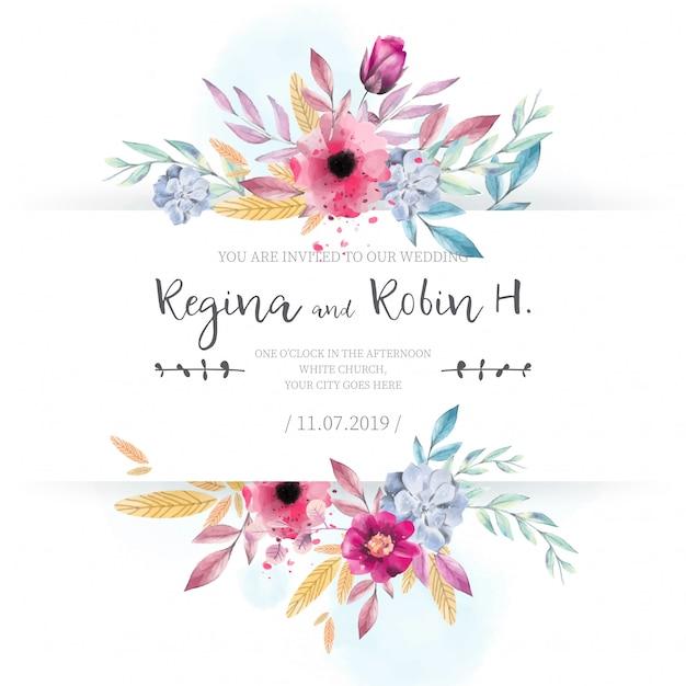 Carte de mariage élégant avec des fleurs aquarelles Vecteur gratuit