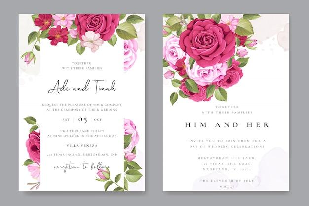 Carte de mariage élégant avec modèle floral et feuilles Vecteur Premium
