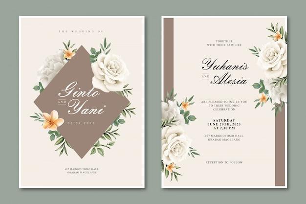 Carte de mariage élégante avec cadre floral multi-usages Vecteur Premium