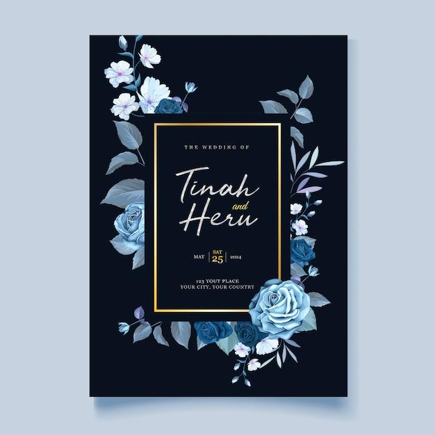Carte De Mariage élégante Couronne Florale Vecteur gratuit