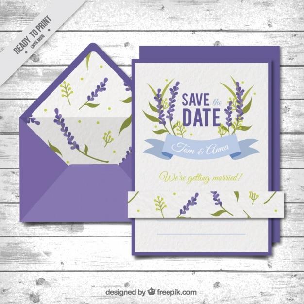 Carte De Mariage Avec Une Enveloppe Violette Vecteur gratuit