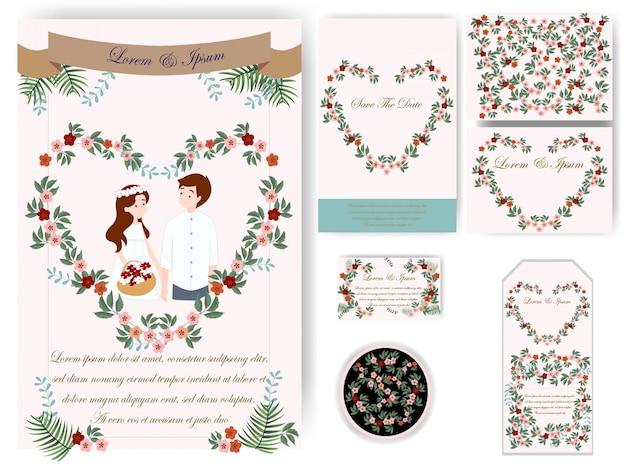 Carte de mariage et étiquette de feuilles colorées Vecteur Premium