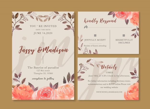 Carte de mariage fleur aquarelle, carte de remerciement, illustration mariage invitation Vecteur gratuit