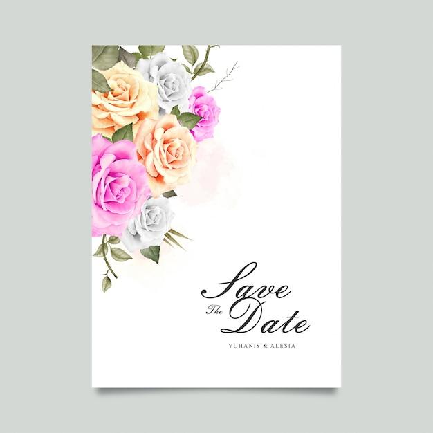 Carte de mariage avec une fleur aquarelle Vecteur Premium