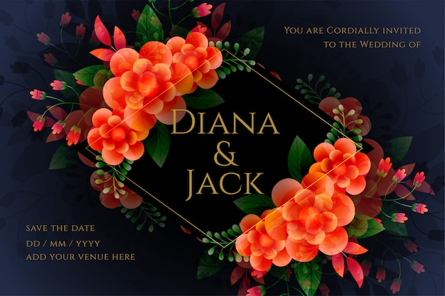 Carte de mariage de fleur artistique dans le thème sombre Vecteur gratuit