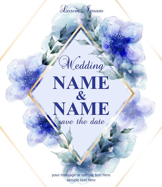 Carte De Mariage Avec Des Fleurs Bleues Aquarelles