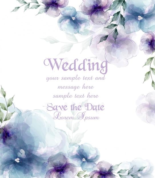 Carte de mariage avec des fleurs bleues aquarelles Vecteur Premium