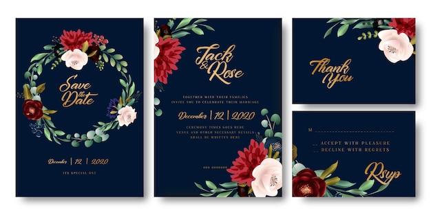 Carte de mariage floral bleu marine et doré Vecteur Premium