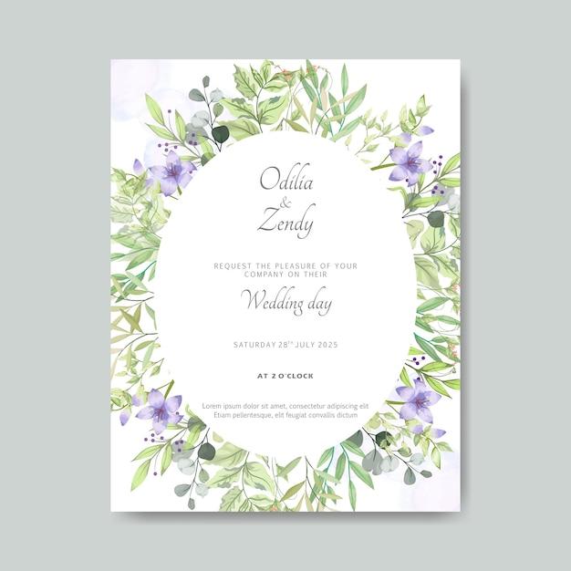 Carte de mariage floral élégant et beau Vecteur Premium