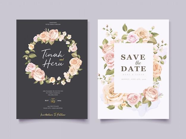 Carte De Mariage Floral élégant Vecteur gratuit