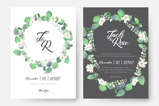 Carte de mariage floral d'eucalyptus Vecteur Premium