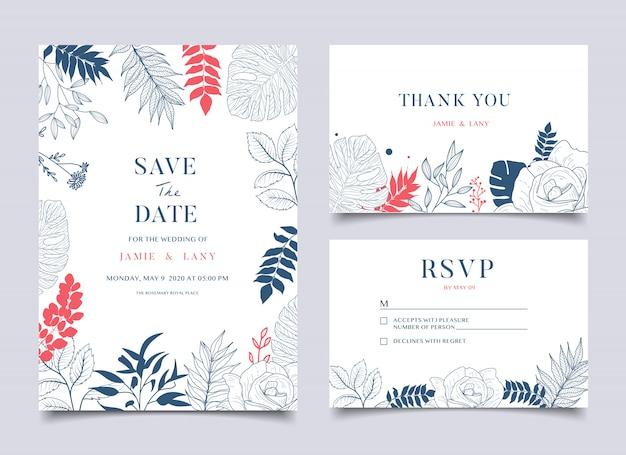 Carte de mariage floral et invitation Vecteur Premium