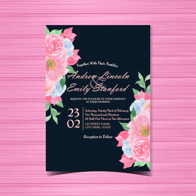 Carte De Mariage Floral Vintage Vecteur Premium