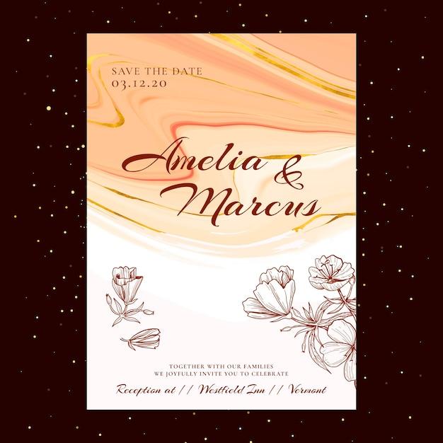 Carte De Mariage Floral Vecteur gratuit