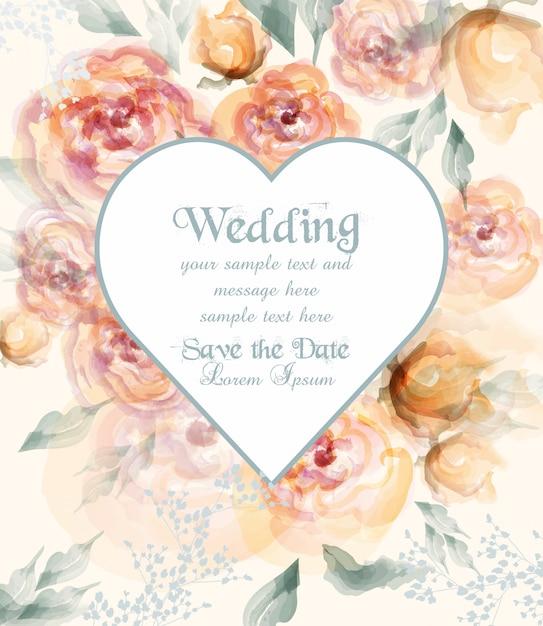 Carte De Mariage En Forme De Coeur Avec Des Fleurs Aquarelles